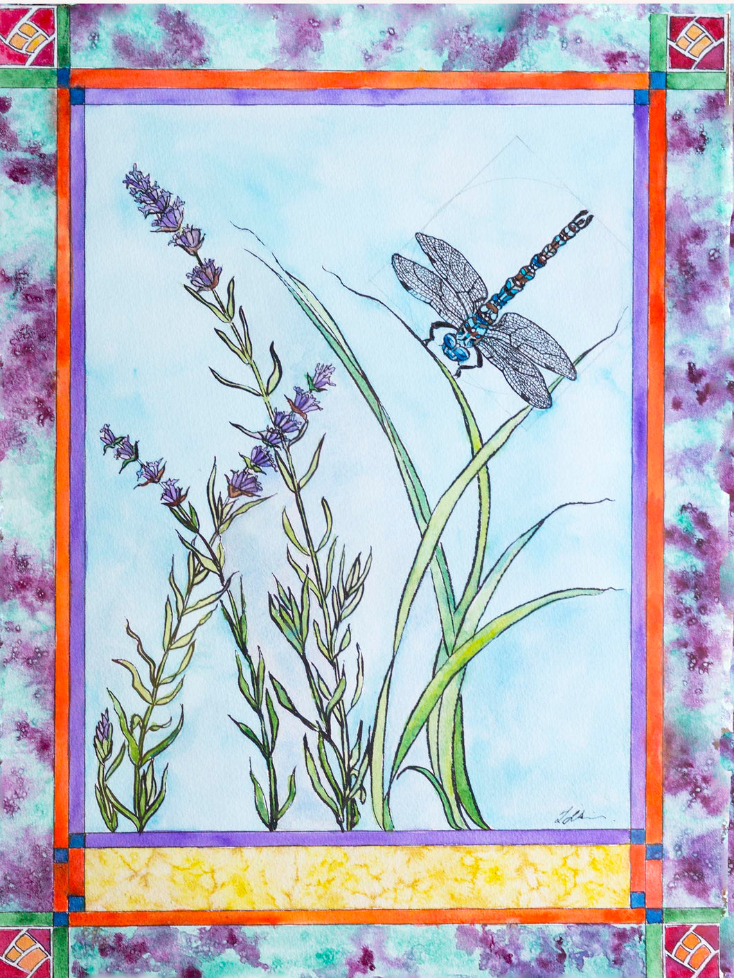 Dragonfly and Lavender Print