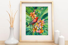 Load image into Gallery viewer, Honeycreeper and Plumeria Print