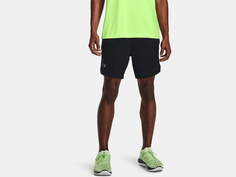 UNDER ARMOUR MENS LAUNCH RUN 2 IN 1 BLACK SHORT