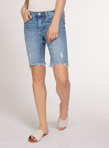 DEX CLOTHING LADIES BERMUDA LIGHT STONE JEAN SHORT