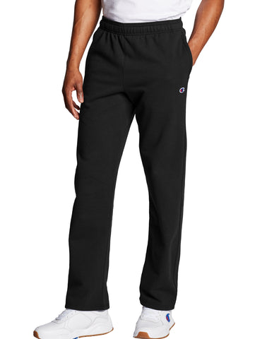 CHAMPION MENS OPEN BOTTOM POWERBLEND BLACK PANT