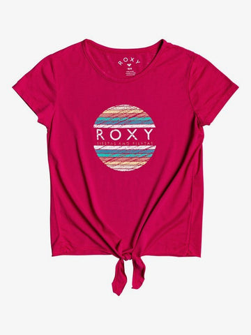 ROXY YOUTH GIRLS SUMMER LONG TIE FRONT CERISE TSHIRT