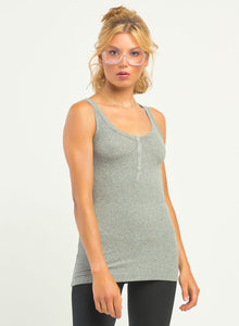 DEX CLOTHING LADIES SNAP PLACKET RIBBED LIGHT GREY HEATHER TANK