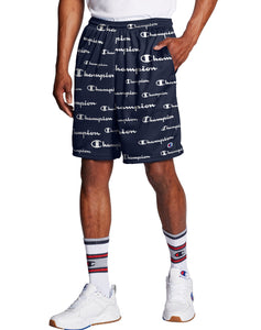 CHAMPION MENS ALL OVER LOGO SOLID SCRIPT/NAVY ATHLETIC MESH SHORT