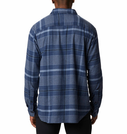 COLUMBIA MENS CORNELL WOODS NIGHT TIDE OMBRE PLAID FLANNEL LS SHIRT