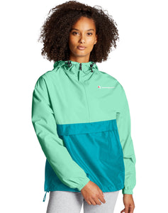 CHAMPION LADIES PACKABLE COLOUR BLOCKED LIGHT SEA GREEN/ROCKIN TEAL JACKET