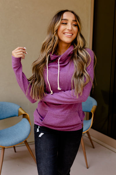 AMPERSAND AVE LADIES BASIC AMETHYST DOUBLEHOOD HOODIE