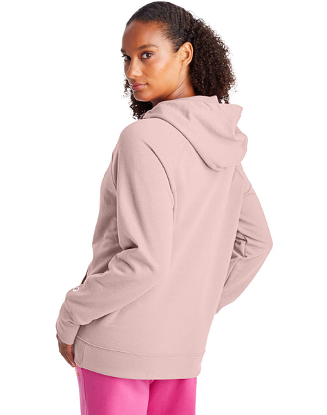 CHAMPION LADIES POWERBLEND GRAPHIC HUSH PINK HOODIE