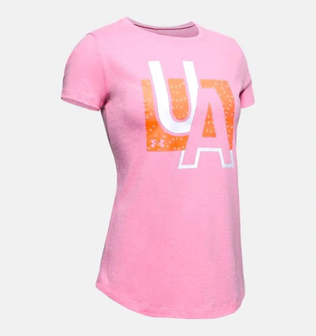 UNDER ARMOUR YOUTH GIRLS BRANDED GRAPHIC LIPSTICK TSHIRT
