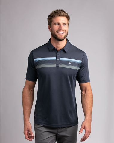 TRAVIS MATHEW MENS PAR TEE BLUE NIGHTS GOLF SHIRT