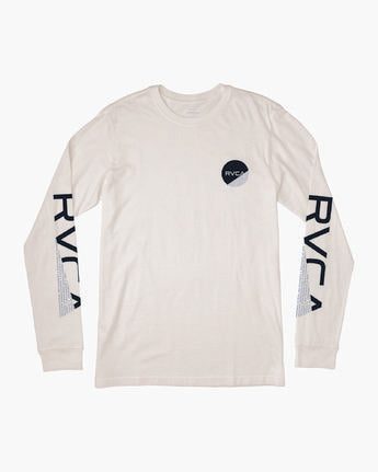 RVCA MENS FRACTION ANTIQUE WHITE LS TSHIRT