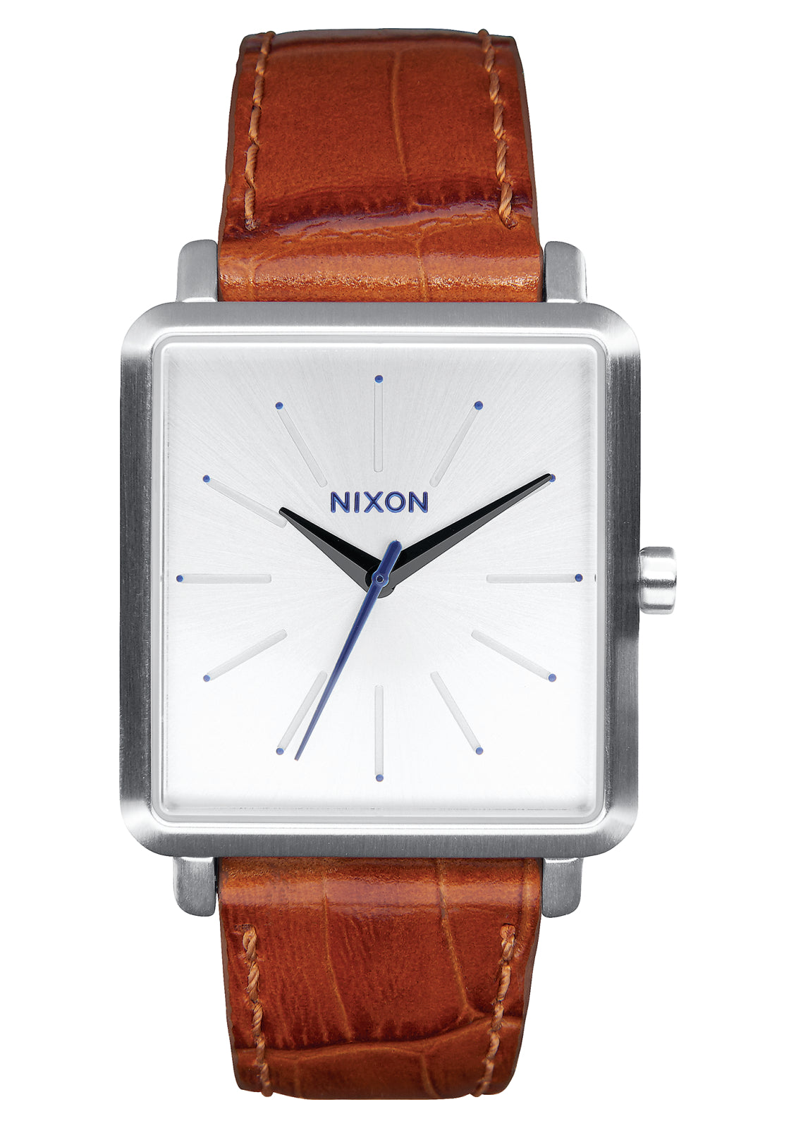 NIXON K SQUARED SILVER/SADDLE GATOR WATCH