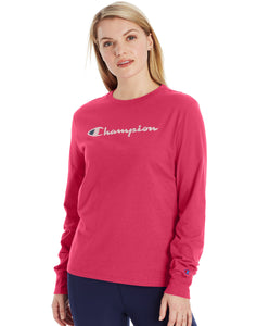 CHAMPION LADIES CLASSIC LONG SLEEVE DEEP RASPBERRY TSHIRT