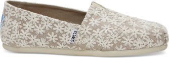 TOMS LADIES NATURAL DAISY METALLIC SHOE