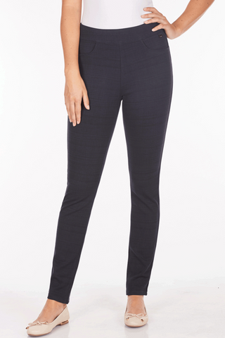 FDJ LADIES PULL ON SLIM LINEAR CHECK NAVY LEGGING
