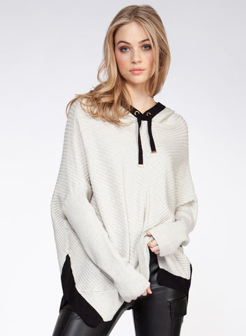 DEX CLOTHING LADIES LS HOODED OATMEAL HEATHER/BLACK SWEATER