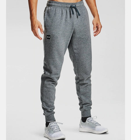UNDER ARMOUR MENS RIVAL FLEECE PITCH GREY JOGGERS