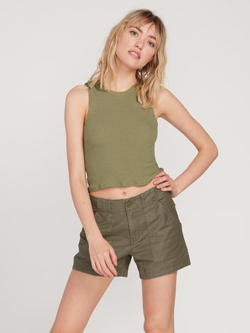 VOLCOM LADIES ARMY WHALER ARMY GREEN COMBO SHORT