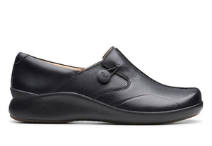 CLARK LADIES UN LOOP 2 WALK BLACK LEATHER SHOE