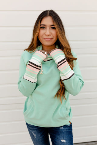 AMPERSAND AVE LADIES BEST FOR LAST MINT STRIPES DOUBLEHOOD HOODIE