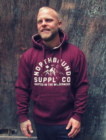NORTHBOUND SUPPLY CO MENS ROOTED IN WILDERNESS MAROON HOODIE