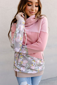 AMPERSAND AVE LADIES IN FULL BLOOM PINK PINK FLORAL SINGLEHOOD HOODIE
