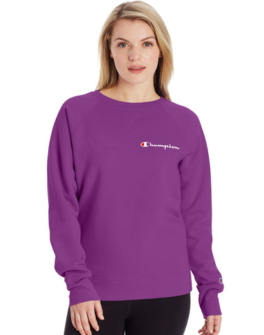 CHAMPION LADIES POWERBLEND BOYFRIEND SCRIPT LOGO FLASHY MAGENTA CREWNECK SWEATER