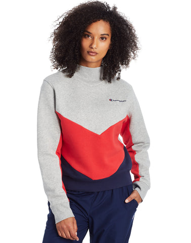 CHAMPION LADIES CAMPUS FLEECE MOCK NECK OXFORD GREY/SCARLET/NAVY CREWNECK SWEATER