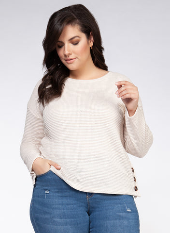 DEX CLOHTING LADIES RIB BUTTON OATMEAL PULLOVER SWEATER