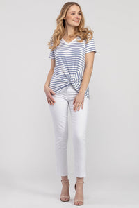 TRIBAL LADIES KNOT FRONT MODAL STRIPE DUSTBLUE SS TOP