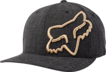 FOX MENS CLOUDED BLACK/GOLD FLEXFIT HAT