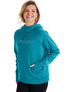 CHAMPION LADIES POWERBLEND APPLIQUE  ROCKIN TEAL HOODIE