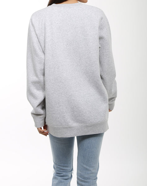 "BRUNETTE THE LABEL LADIES ""BRUNETTE"" BIG SISTER OVERSIZED PEBBLE GREY CREWNECK SWEATSHIRT"