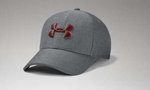 UNDER ARMOUR MENS HEATHER BLITZING 3.0 PITHC GREY HAT
