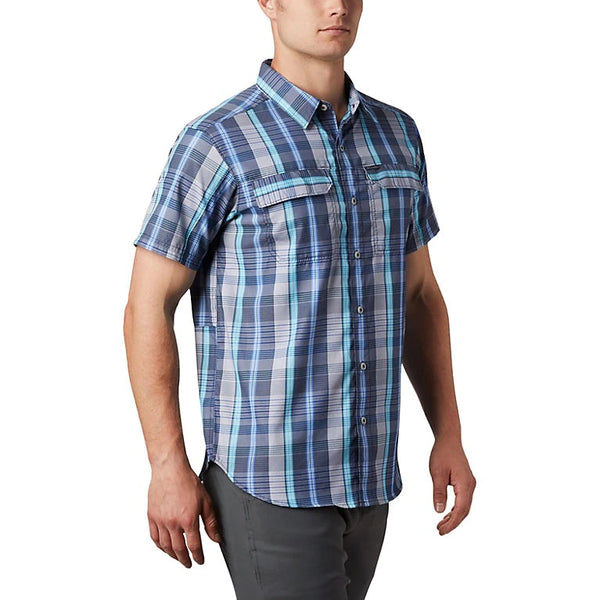 COLUMBIA MENS SILVER RIDGE 2.0 SKY BLUE MULTI PLAID SS SHIRT