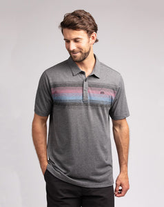TRAVIS MATHEW MENS WE'RE DANCIN HEATHER GREY PINSTRIPE GOLF SHIRT