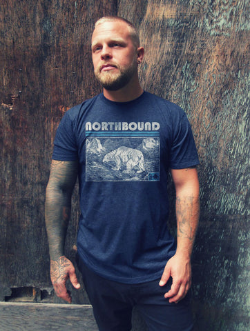 NORTHBOUND SUPPLY CO MENS POLAR BEAR NAVY TSHIRT