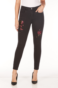 FDJ LADIES OLIVIA SLIM ANKLE WITH EMBELLISHMENTS BLACK JEAN
