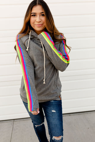 AMPERSAND AVE LADIES FULL OF LIFE GREY RAINBOW DOUBLEHOOD HOODIE