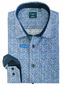LEO CHEVALIER MENS LS 100% COTTON NON-IRON BLUE PRINT