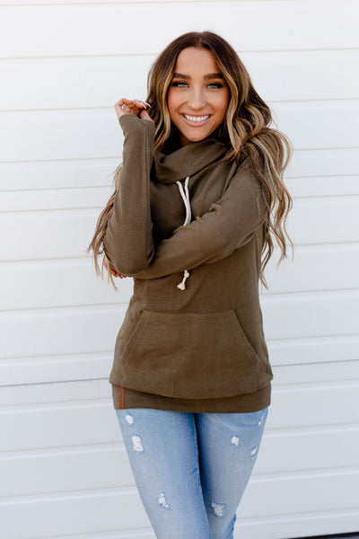 AMPERSAND AVE LADIES OLIVE COWLNECK SWEATER