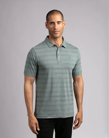 TRAVIS MATHEW MENS HEATER HEATHER BALSAM GOLF SHIRT