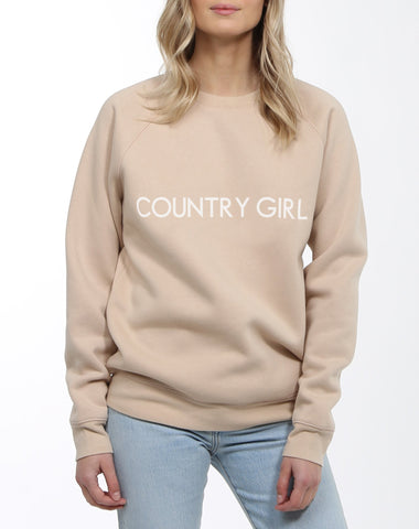 BRUNETTE THE LABEL LADIES COUNTRY GIRL TOASTED ALMOND CREWNECK SWEATER