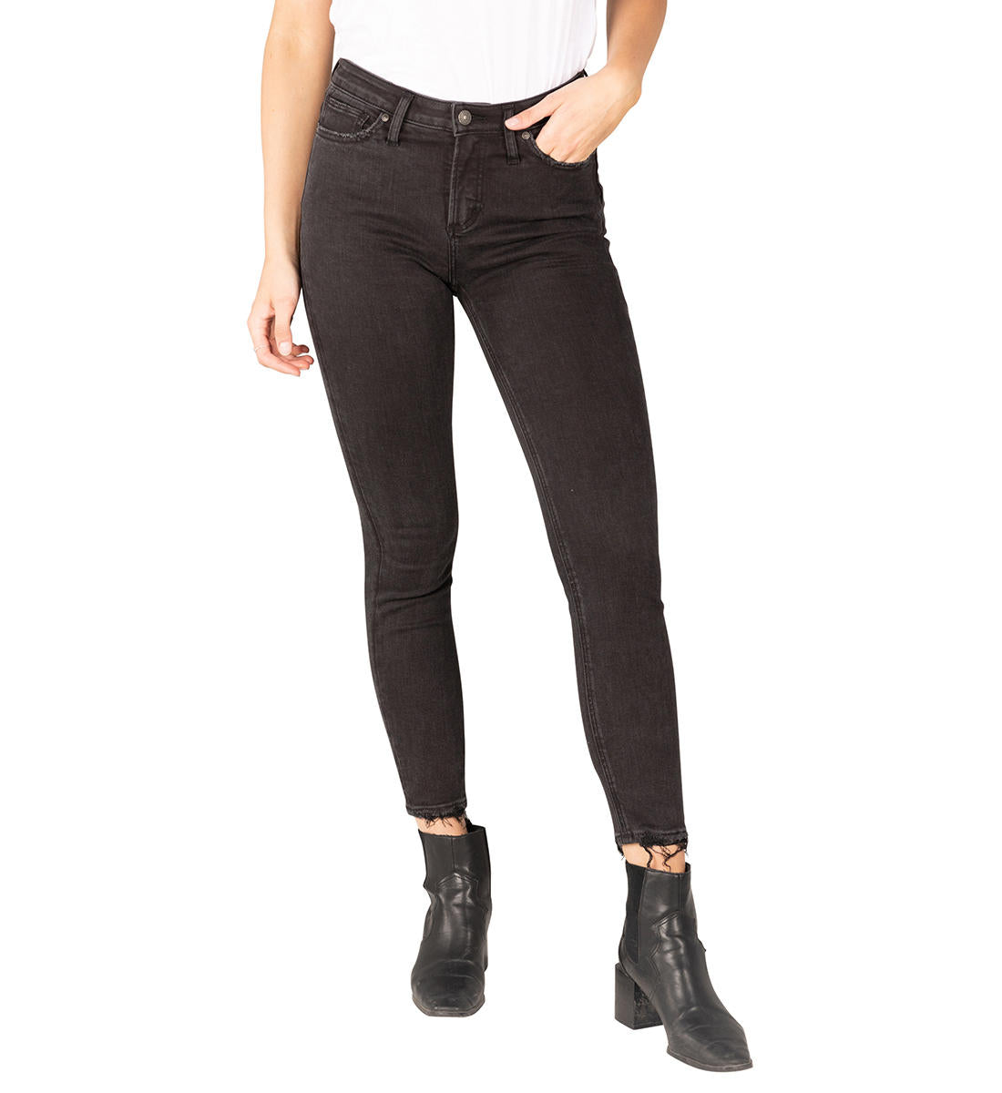 SILVER JEANS LADIES HIGH NOTE HIGH RISE SKINNY BLACK JEANS