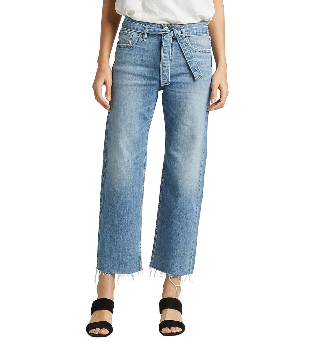 SILVER JEANS LADIES TIED AND WIDE HIGH RISE INDIGO CROP
