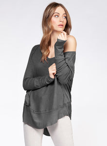 DEX CLOTHING LADIES LS WIDE SCOOP NECK RIBBED CUFF AND HEM MED GREY HEATHER TOP