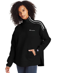 CHAMPION LADIES SPORT MOCK NECK BLACK/WHITE PULLOVER