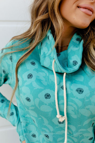 AMPERSAND AVE LADIES FLORAL FEELINGS TEAL COWLNECK SWEATER