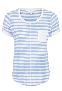 TRIBAL LADIES STRIPED POCKET BLUE WAVE SS TOP