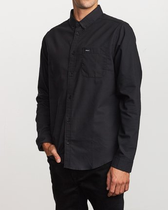 RVCA MENS THAT'LL DO STRETCH BLACK LS SHIRT